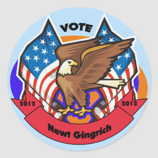 2012 Vote for Newt Gingrich Round Stickers