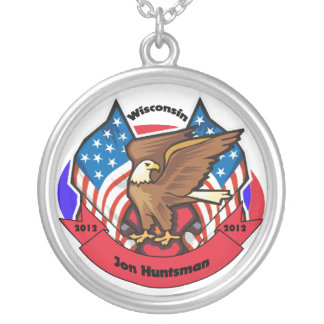 2012 Wisconsin for Jon Huntsman Round Pendant Necklace