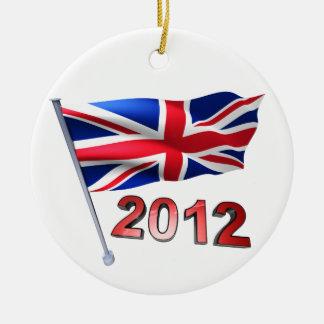 2012 with Britain flag Round Ceramic Decoration