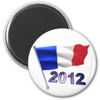 2012 with French flag 6 Cm Round Magnet