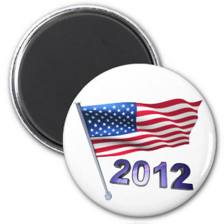 2012 with USA flag 6 Cm Round Magnet