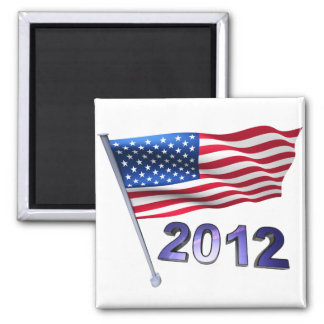 2012 with USA flag Square Magnet
