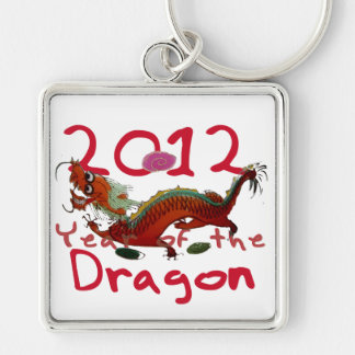2012 - Year of th Dragon Silver-Colored Square Key Ring