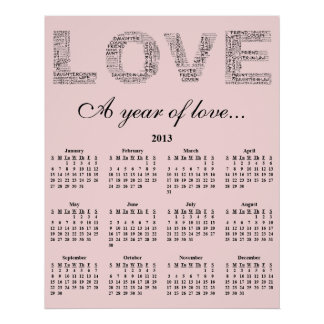 2013: A Year of Love Wall Calendar Posters
