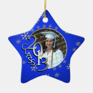 2013 Blue Star Graduate Photo Double-Sided Star Ceramic Christmas Ornament