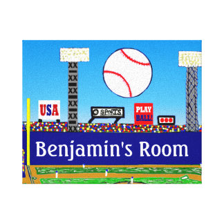 2013 Boy's Room Personalized Baseball Art Print Stretched Canvas Print