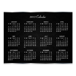2013 Calendar with Elegant Black Leather Texture   Postcard