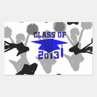 2013 Cheerleader light blue gold Rectangular Sticker