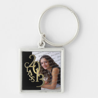 2013 Graduation Keepsake Black Gold Silver-Colored Square Key Ring