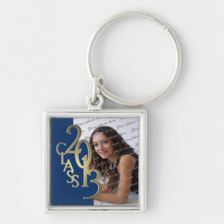 2013 Graduation Keepsake Blue Gold Silver-Colored Square Key Ring