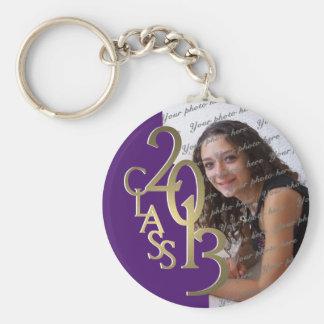 2013 Graduation Keepsake Purple Gold Basic Round Button Key Ring