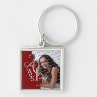 2013 Graduation Keepsake Red Silver Silver-Colored Square Key Ring