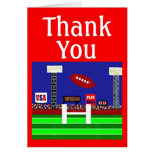 2013 Kids Sports Football Thank You Notes Gift Card