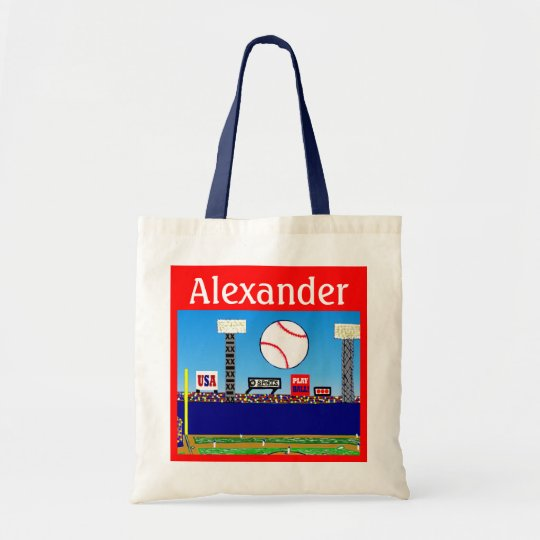 2013 Kids Sports Personalised Baseball Tote Bag