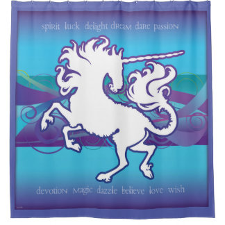 2013 Mink Nest Inspirational Unicorn Curtain Blue
