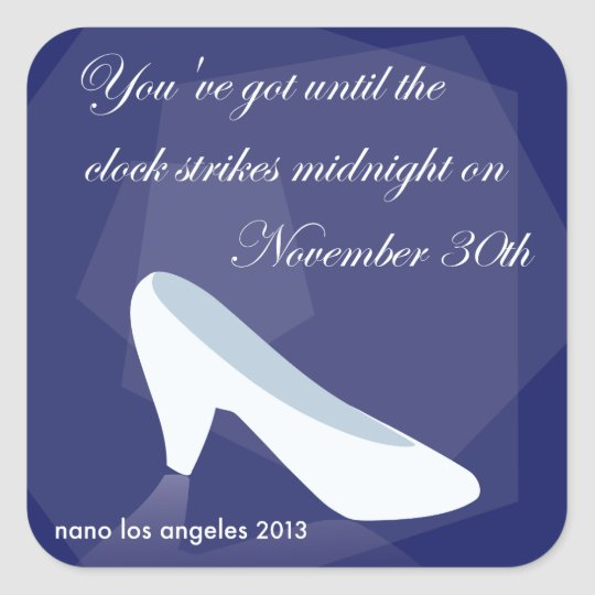 2013 NaNoLA - Cinderella Midnight Square Sticker