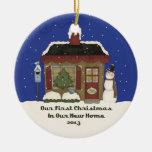 2013 New Home Christmas Snowman Cabin Christmas Ornament