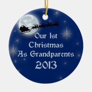 2013 Our 1st Christmas As Grandparents Round Ceramic Decoration