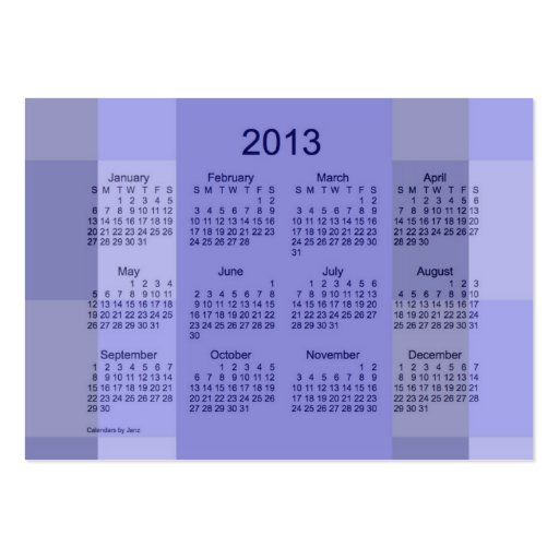 pocket calendar business card template