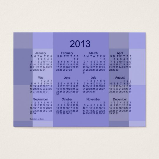 2013 Pocket Calendar Business Card Template