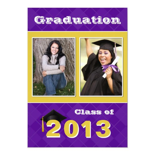 2013 Purple and Gold Argyle Graduation Card