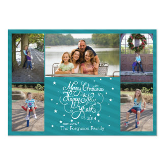 2014 5 photo Christmas holiday card blue stripes 13 Cm X 18 Cm Invitation Card
