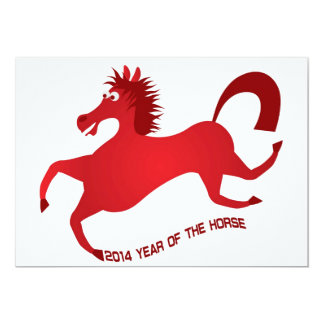 2014 Abstract Red Chinese New Year of the Horse 13 Cm X 18 Cm Invitation Card