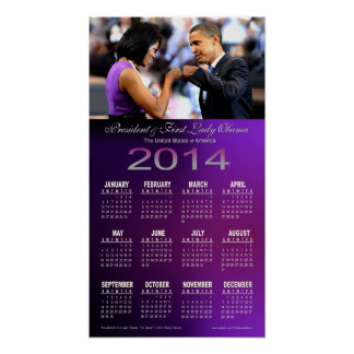 2014 Barack and Michelle Obama Fist Bump Calendar Poster