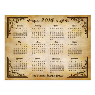 2014 Calendar - Antique Frame and Old Paper Style Postcard
