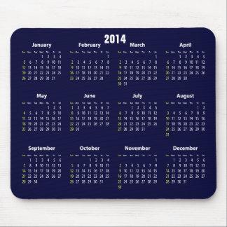 2014 calendar blue color mouse pad