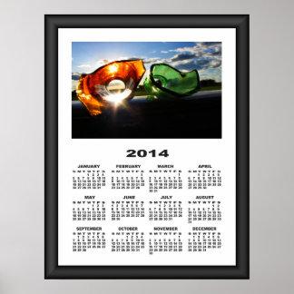 2014 Calendar Framed Broken Bottles On The Road Posters