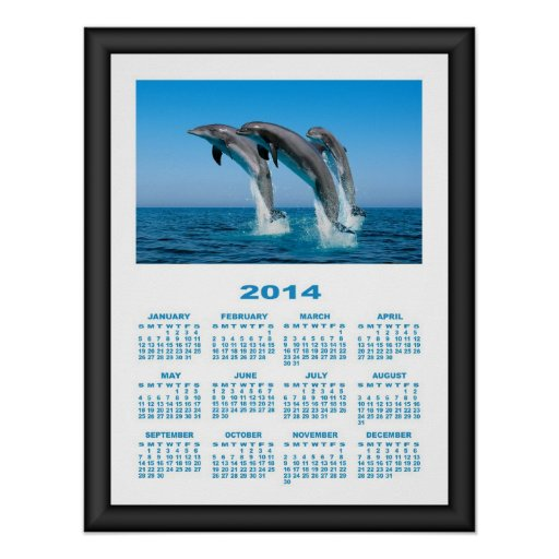 2014 Calendar (Framed) Dolphins Jumping In The Sea Print
