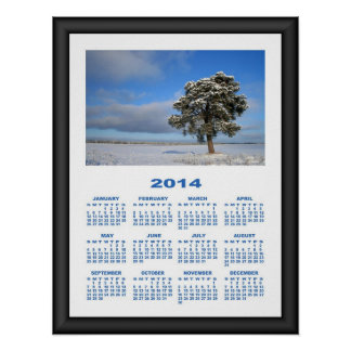 2014 Calendar (Framed) Freezing Solitary Tree Print