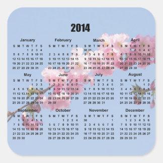 2014 calendar pink blossom flowers blue sky, gift square sticker