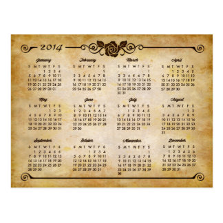 2014 Calendar - Rustic Country Rose Vintage Style Postcard