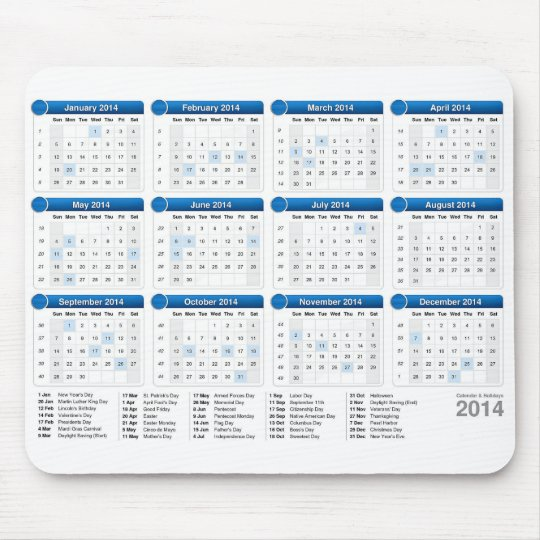 2014 Calender with Holidays Mouse Mat