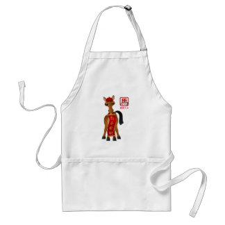2014 Chinese New Year of the Horse Holding Banner Standard Apron