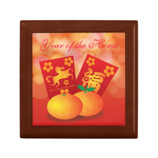 2014 Chinese New Year of the Horse Mandarin Orange Small Square Gift Box