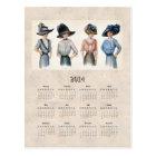 2014 Edwardian Fashion Pocket Calendar Postcard