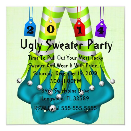 2014 Elf Shoes Ugly Sweater Holiday Party Invite