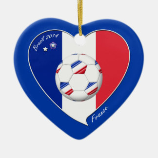 2014 Flag of FRANCE SOCCER champion of the world Ceramic Heart Decoration