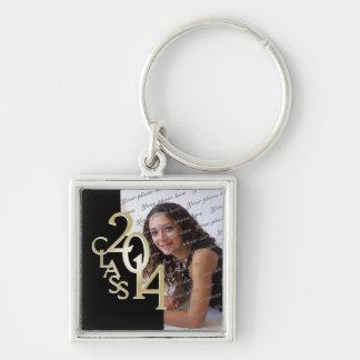 2014 Graduation Keepsake Black Gold Silver-Colored Square Key Ring