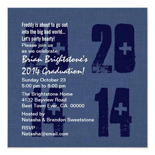 2014 Graduation or Any Year Blue and White V08 Card