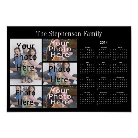 2014 Horizontal Custom Photo Collage Calendar Poster