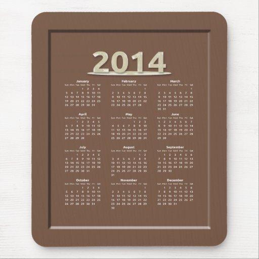 2014 Milk Chocolate Candy Calendar Mouse Pad