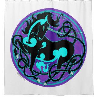 2014 Mink Nest Unicorn Shower Curtain - Black/Blue