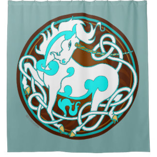 2014 Mink Nest Unicorn Shower Curtain- Dusty Green Shower Curtain
