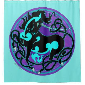 2014 Mink Nest Unicorn Shower Curtain - Light Blue
