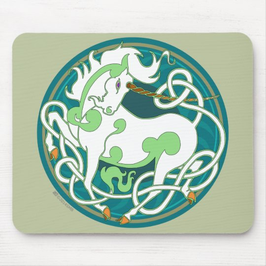 2014 Mink Office: Unicorn Mouspad - Green/White Mouse