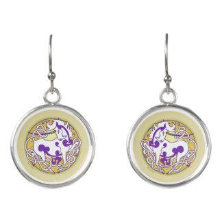 2014 MinkStyle Unicorn Drop Earrings-Purple/Yellow Earrings